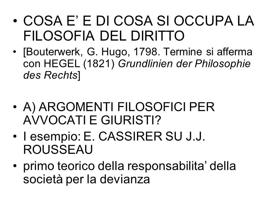 COSA E' E DI COSA SI OCCUPA LA FILOSOFIA DEL DIRITTO [Bouterwerk, G. Hugo, 1798. Termine si afferma con HEGEL (1821) Grundlinien der Philosophie des R