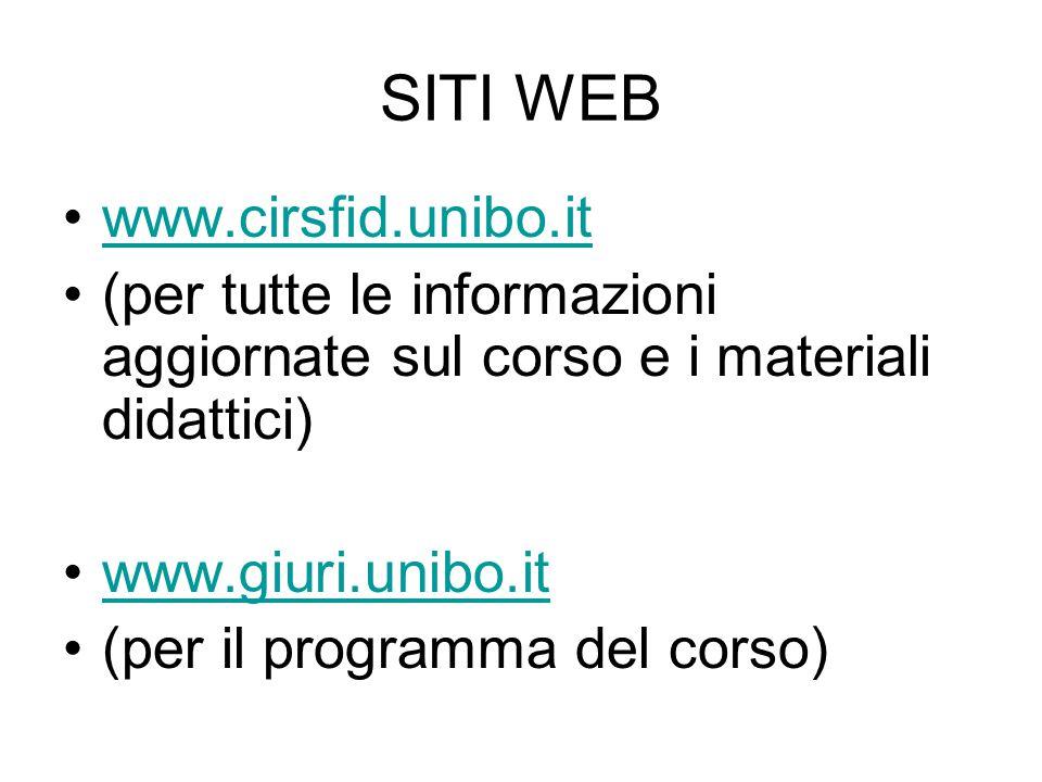 SITI WEB www.cirsfid.unibo.it (per tutte le informazioni aggiornate sul corso e i materiali didattici) www.giuri.unibo.it (per il programma del corso)