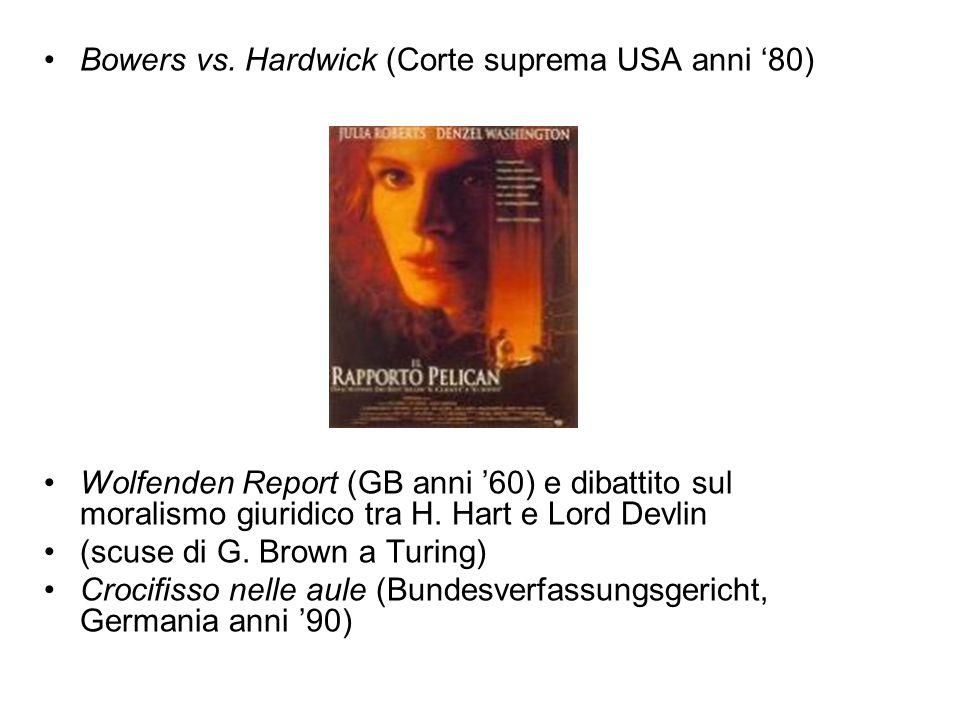 Bowers vs. Hardwick (Corte suprema USA anni '80) Wolfenden Report (GB anni '60) e dibattito sul moralismo giuridico tra H. Hart e Lord Devlin (scuse d
