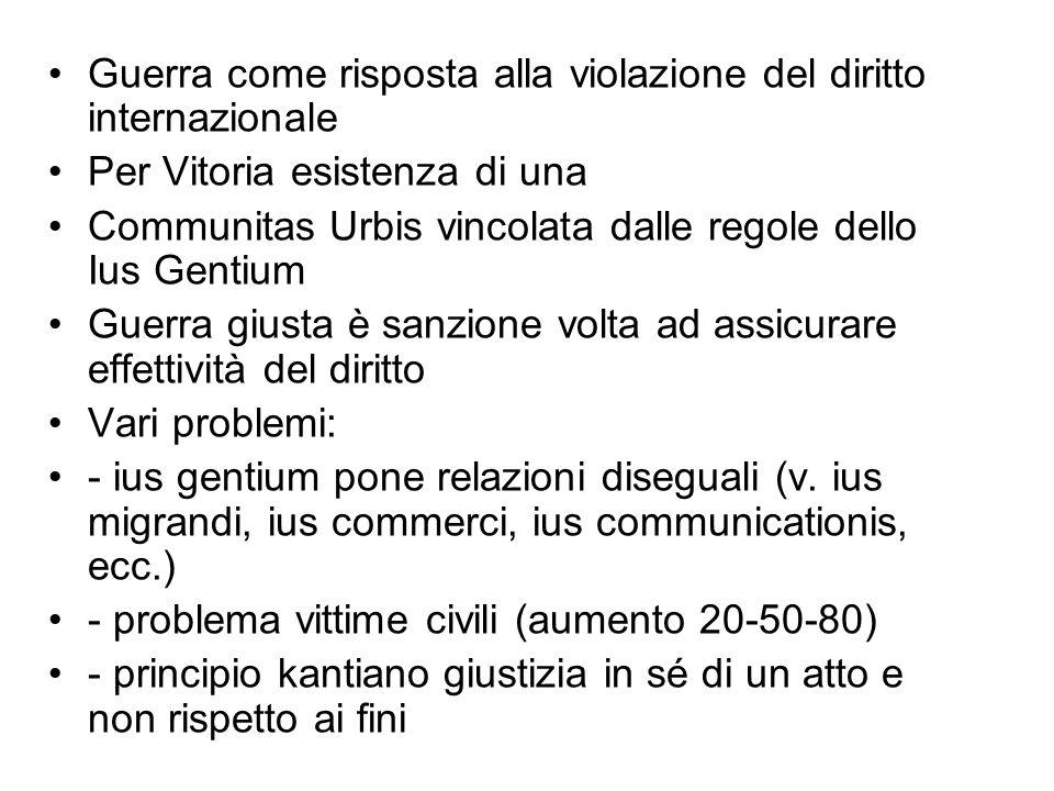 Guerra come risposta alla violazione del diritto internazionale Per Vitoria esistenza di una Communitas Urbis vincolata dalle regole dello Ius Gentium