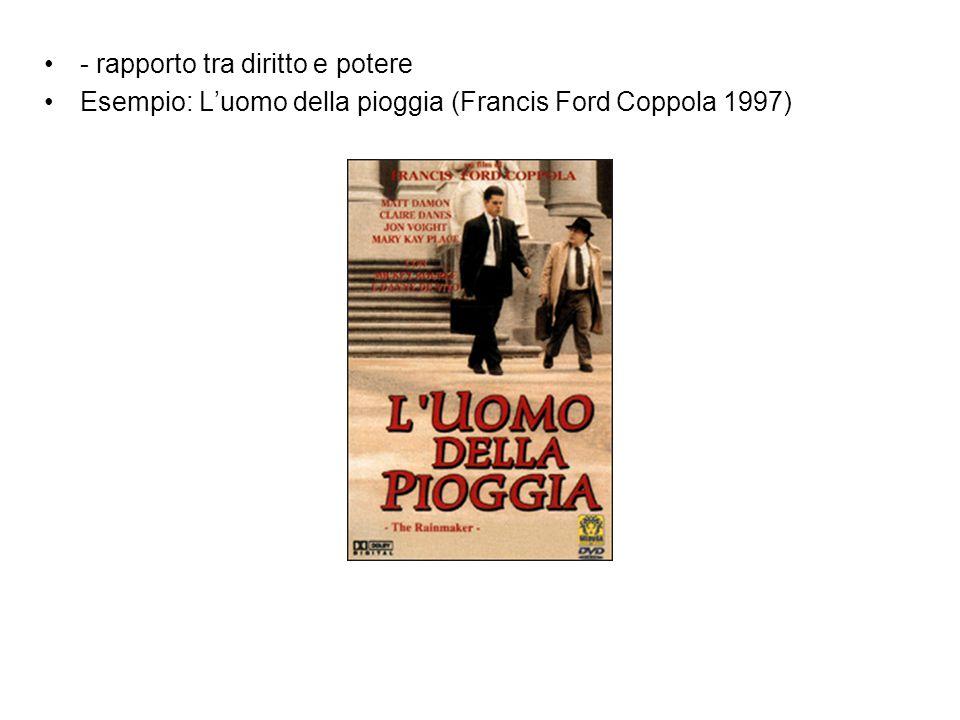 - rapporto tra diritto e potere Esempio: L'uomo della pioggia (Francis Ford Coppola 1997)
