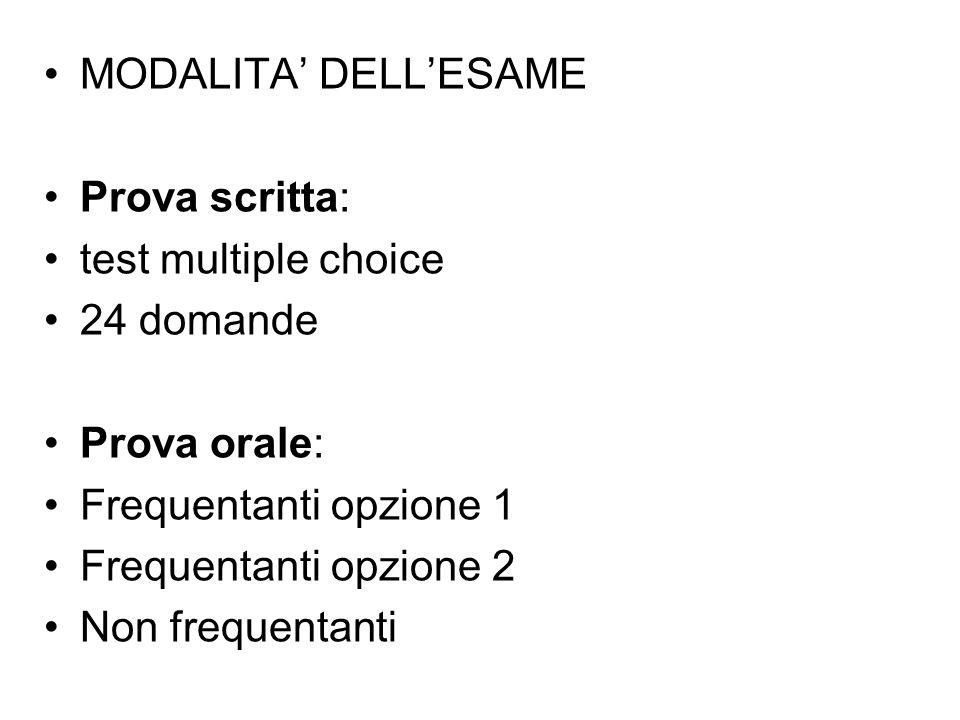 MODALITA' DELL'ESAME Prova scritta: test multiple choice 24 domande Prova orale: Frequentanti opzione 1 Frequentanti opzione 2 Non frequentanti