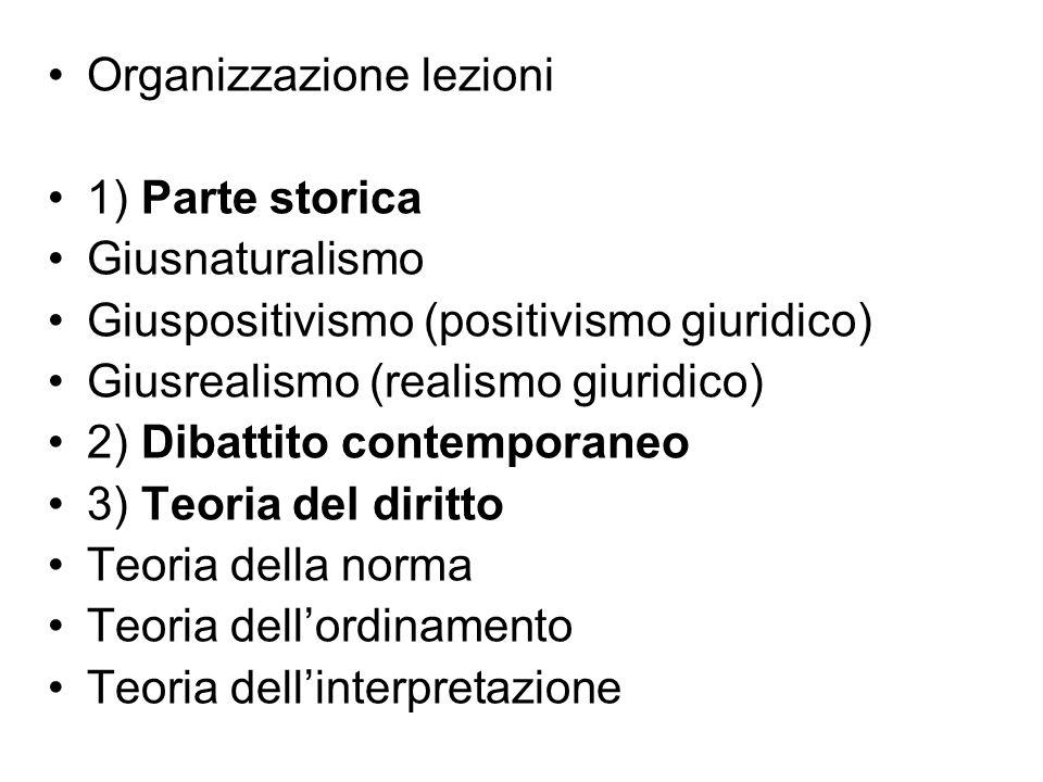 Organizzazione lezioni 1) Parte storica Giusnaturalismo Giuspositivismo (positivismo giuridico) Giusrealismo (realismo giuridico) 2) Dibattito contemp