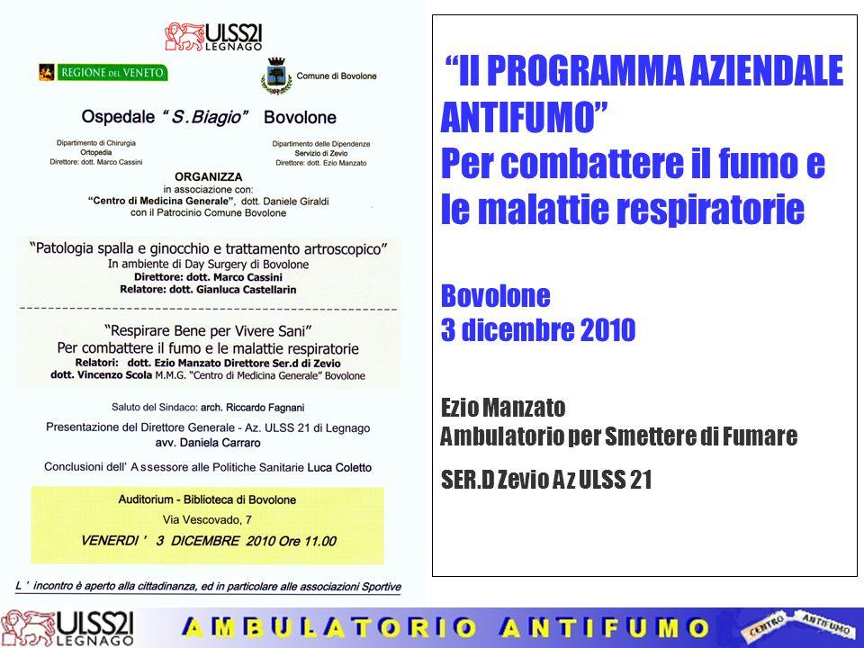 Il PROGRAMMA AZIENDALE ANTIFUMO Per combattere il fumo e le malattie respiratorie Bovolone 3 dicembre 2010 Ezio Manzato Ambulatorio per Smettere di Fumare SER.D Zevio Az ULSS 21