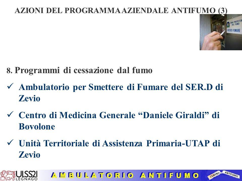 """AZIONI DEL PROGRAMMA AZIENDALE ANTIFUMO (2) 3. Pubblicizzazione del Programma Aziendale Antifumo 4. Iniziative di informazione e sensibilizzazione """"ST"""