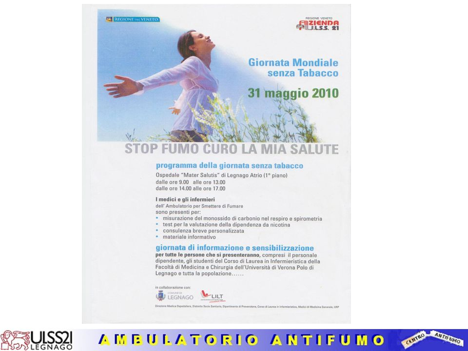 AZIONI DEL PROGRAMMA AZIENDALE ANTIFUMO (3) 8. Programmi di cessazione dal fumo Ambulatorio per Smettere di Fumare del SER.D di Zevio Centro di Medici