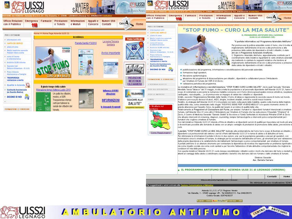 Anni 2008 - 2009 Servizio per Smettere di Fumare Analisi dell'esito del trattamento (campione di 94 utenti – valori percentuali)