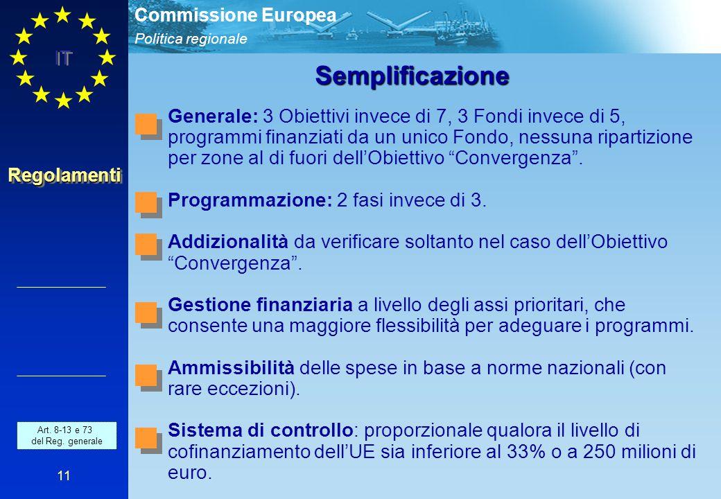 Politica regionale Commissione Europea IT 11 RegolamentiRegolamenti Semplificazione Generale: 3 Obiettivi invece di 7, 3 Fondi invece di 5, programmi