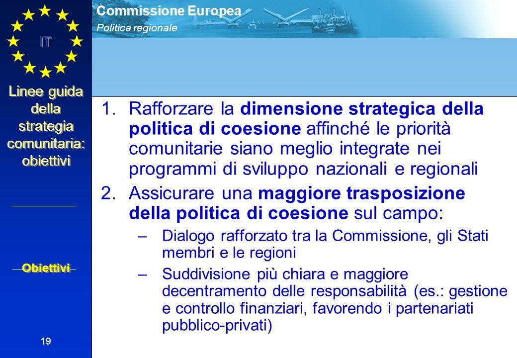 Politica regionale Commissione Europea IT 19 Linee guida della strategia comunitaria: obiettivi 1.Rafforzare la dimensione strategica della politica d