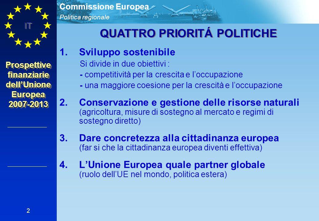 Politica regionale Commissione Europea IT 2 1.Sviluppo sostenibile Si divide in due obiettivi : - competitività per la crescita e l'occupazione - una