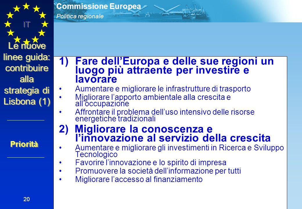 Politica regionale Commissione Europea IT 20 Le nuove linee guida: contribuire alla strategia di Lisbona (1) 1)Fare dell'Europa e delle sue regioni un