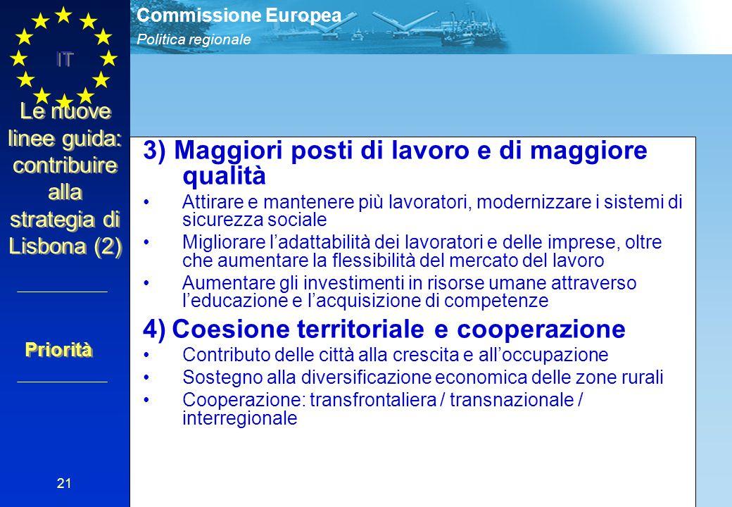 Politica regionale Commissione Europea IT 21 Le nuove linee guida: contribuire alla strategia di Lisbona (2) 3) Maggiori posti di lavoro e di maggiore
