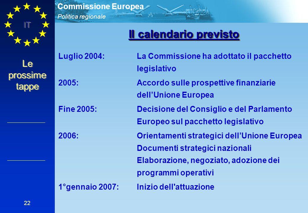 Politica regionale Commissione Europea IT 22 Le prossime tappe Luglio 2004: La Commissione ha adottato il pacchetto legislativo 2005: Accordo sulle pr