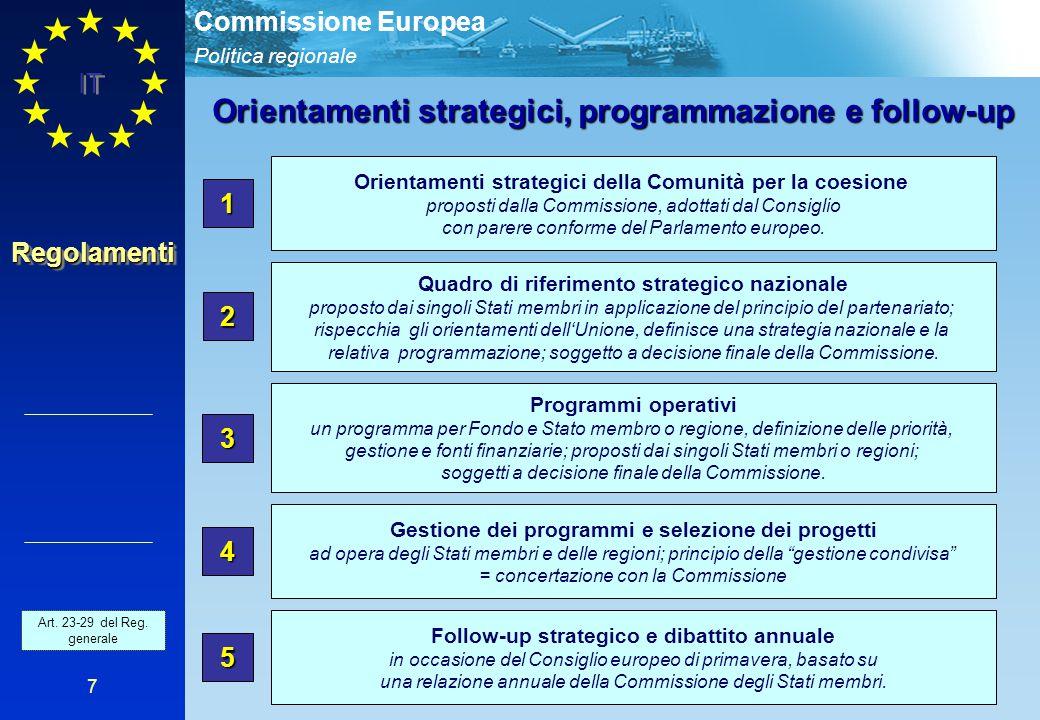Politica regionale Commissione Europea IT 7 Orientamenti strategici della Comunità per la coesione proposti dalla Commissione, adottati dal Consiglio