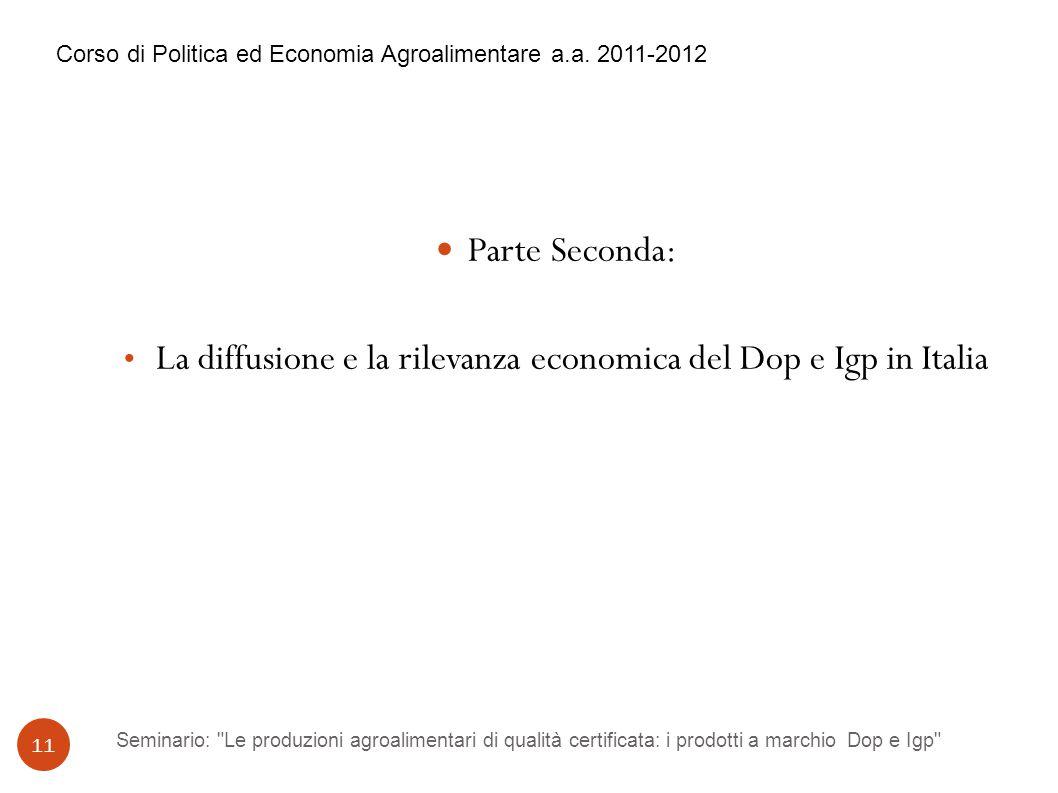 Seminario: Le produzioni agroalimentari di qualità certificata: i prodotti a marchio Dop e Igp 11 Parte Seconda: La diffusione e la rilevanza economica del Dop e Igp in Italia Corso di Politica ed Economia Agroalimentare a.a.