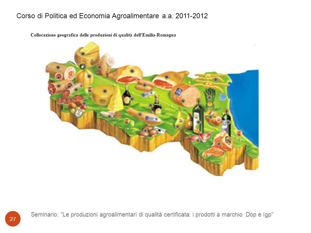 Seminario: Le produzioni agroalimentari di qualità certificata: i prodotti a marchio Dop e Igp 27 Corso di Politica ed Economia Agroalimentare a.a.