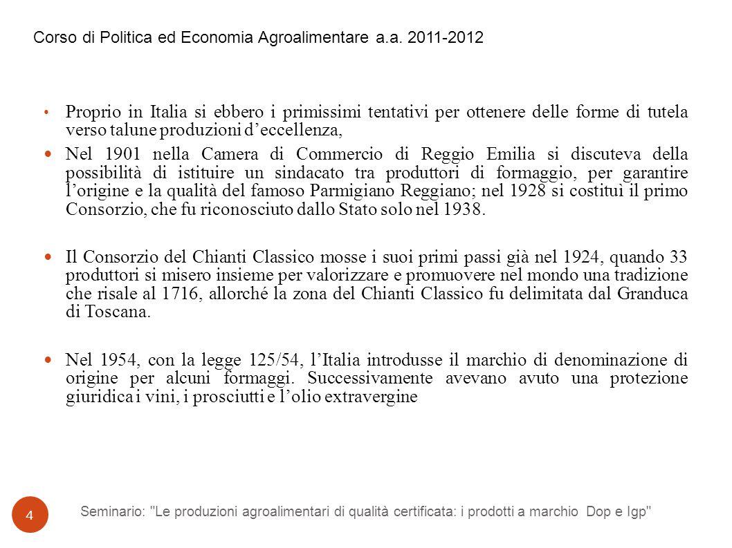 Seminario: Le produzioni agroalimentari di qualità certificata: i prodotti a marchio Dop e Igp 15 Corso di Politica ed Economia Agroalimentare a.a.