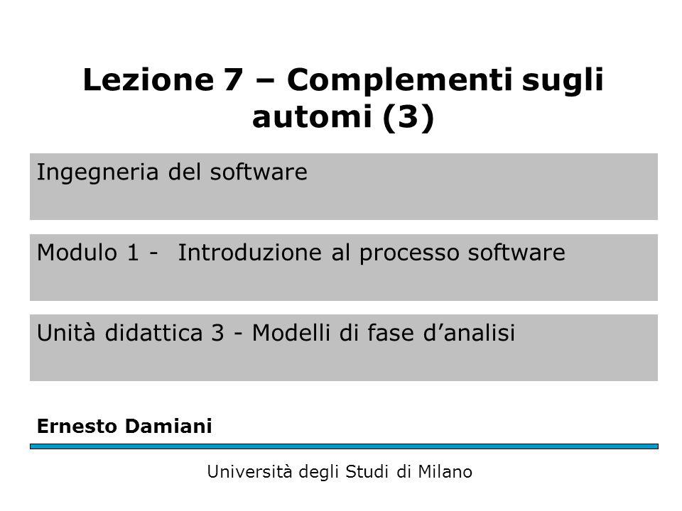 Ingegneria del software Modulo 1 - Introduzione al processo software Unità didattica 3 - Modelli di fase d'analisi Ernesto Damiani Università degli Studi di Milano Lezione 7 – Complementi sugli automi (3)