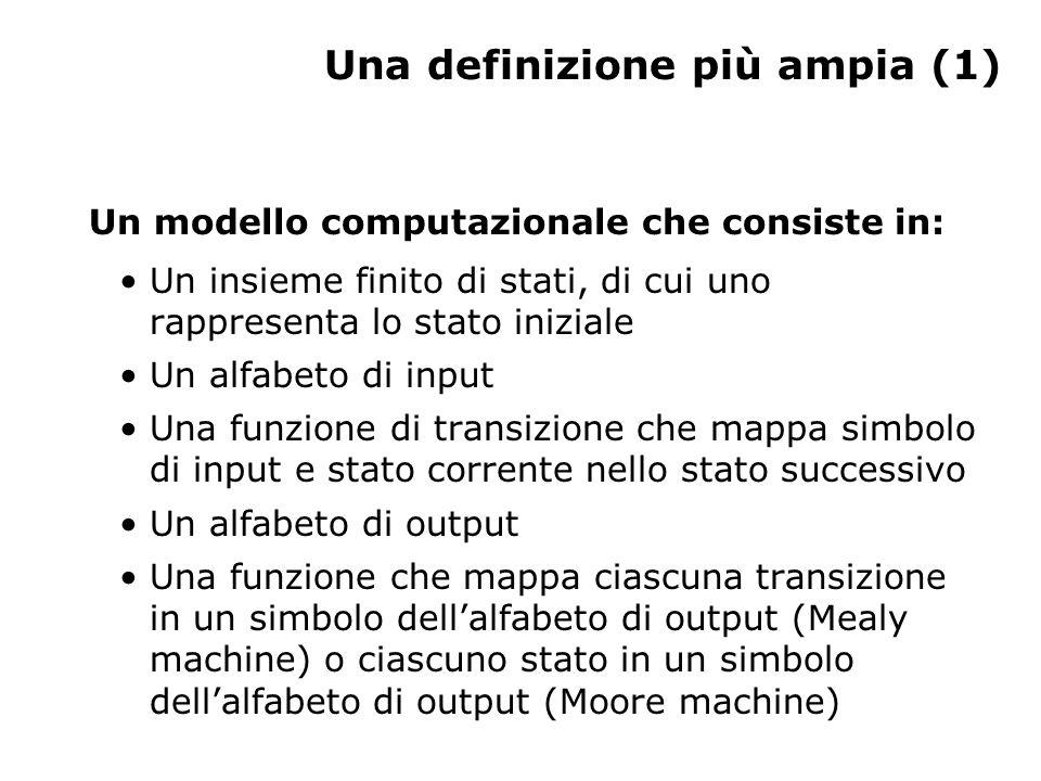 Una definizione più ampia (2) La computazione inizia allo stato iniziale con una stringa di input e procede generalmente verso altri stati a seconda della funzione di transizione.