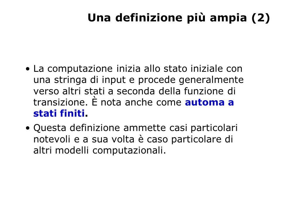 Una definizione più ampia (2) La computazione inizia allo stato iniziale con una stringa di input e procede generalmente verso altri stati a seconda d