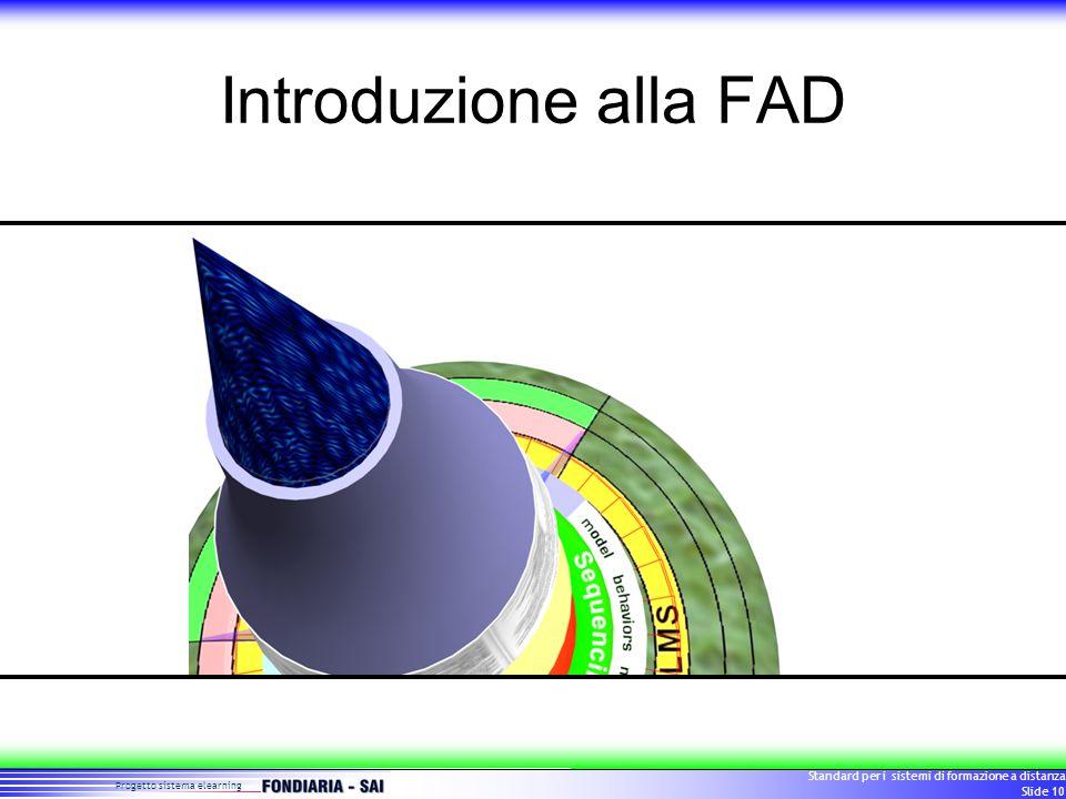 Progetto sistema elearning Standard per i sistemi di formazione a distanza Slide 10 Introduzione alla FAD