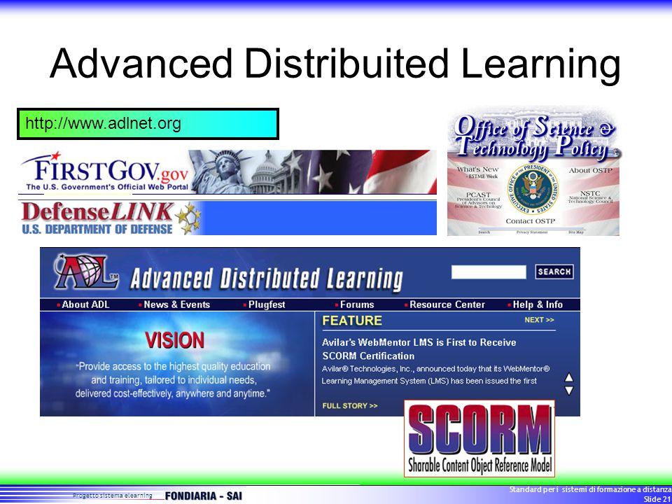 Progetto sistema elearning Standard per i sistemi di formazione a distanza Slide 21 Advanced Distribuited Learning http://www.adlnet.org