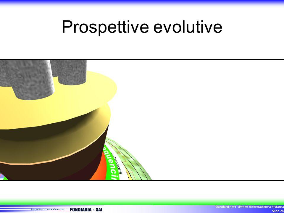 Progetto sistema elearning Standard per i sistemi di formazione a distanza Slide 28 Prospettive evolutive