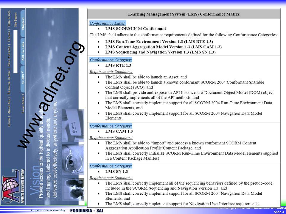Progetto sistema elearning Standard per i sistemi di formazione a distanza Slide 5 SCORM 2004 conformance Componenti di sistema: –Piattaforma (LMS) –Sistema di assemblamento files (CP) –Sistema di costruzione dei contenuti (SCO) –Sistema di marcatura dei contenuti (MD) Categorie di conformità –Content Aggregation Model –Run Time Environment –Sequencing & navigation