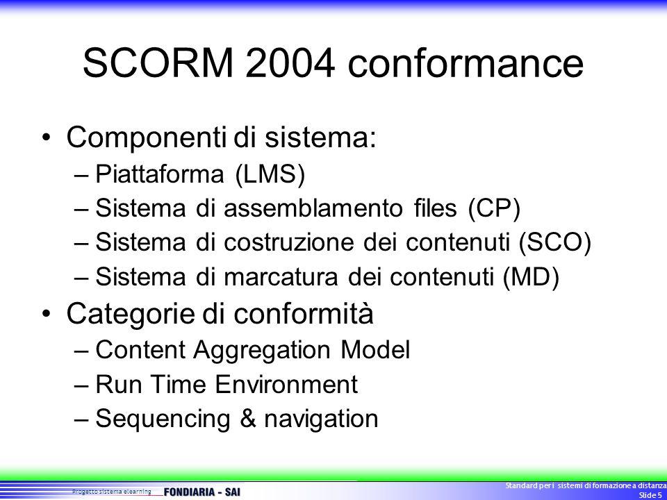 Progetto sistema elearning Standard per i sistemi di formazione a distanza Slide 6 Conformance Matrix LMS CP SCO MD CAM 1.3RTE 1.3S&N 1.3