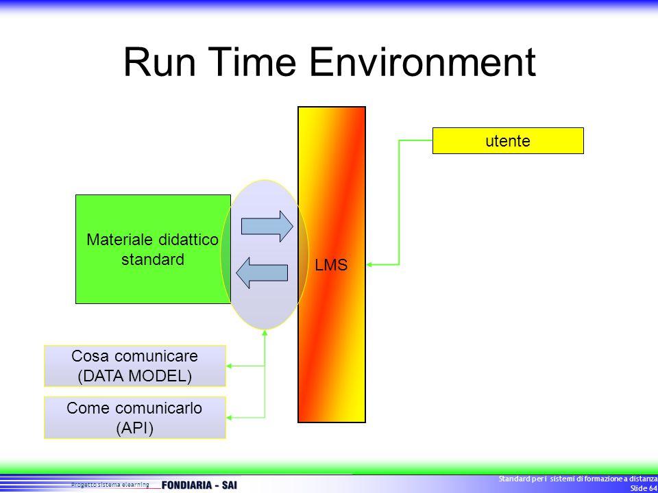 Progetto sistema elearning Standard per i sistemi di formazione a distanza Slide 64 Run Time Environment LMS utente Materiale didattico standard Cosa comunicare (DATA MODEL) Come comunicarlo (API)
