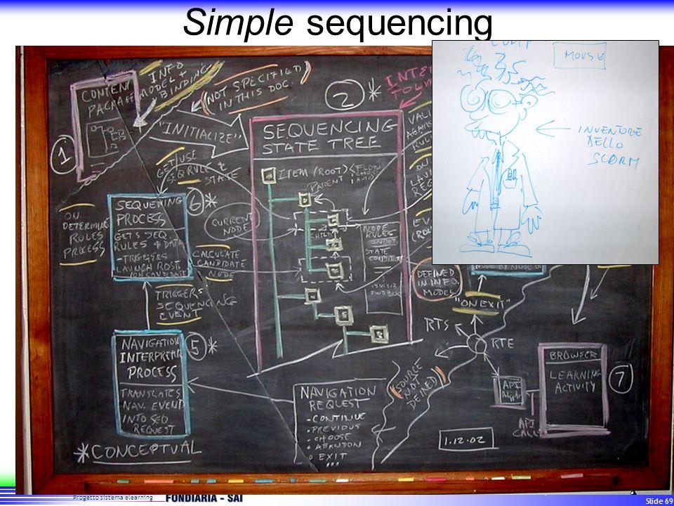 Progetto sistema elearning Standard per i sistemi di formazione a distanza Slide 69 Simple sequencing