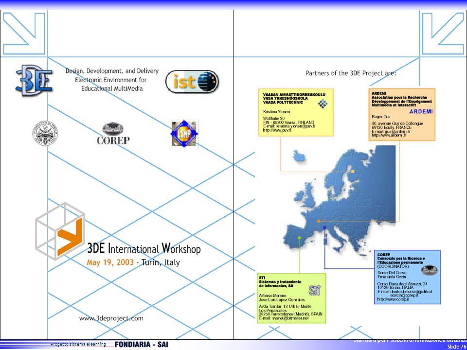 Progetto sistema elearning Standard per i sistemi di formazione a distanza Slide 76