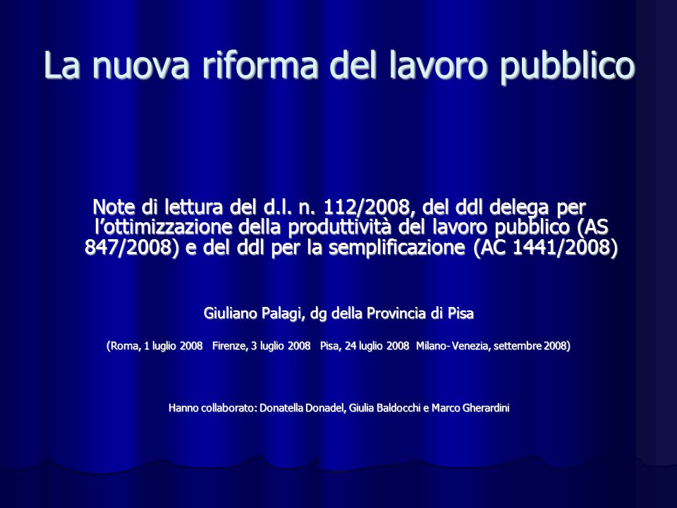 La nuova riforma del lavoro pubblico Note di lettura del d.l.