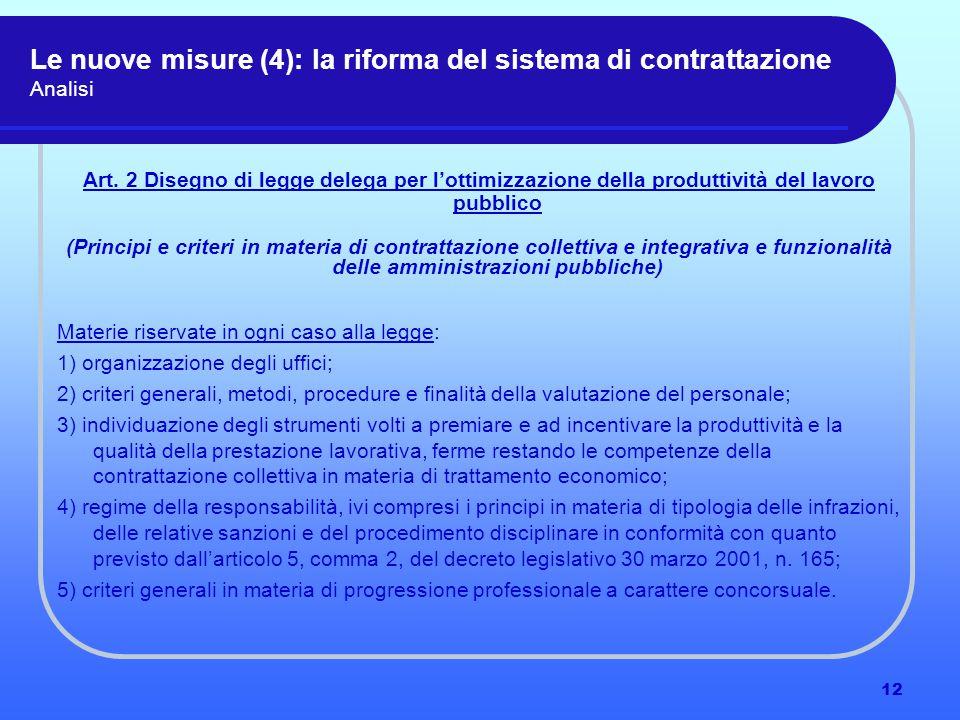 12 Le nuove misure (4): la riforma del sistema di contrattazione Analisi Art.