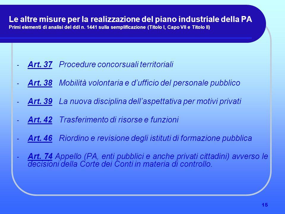 15 Le altre misure per la realizzazione del piano industriale della PA Primi elementi di analisi del ddl n.