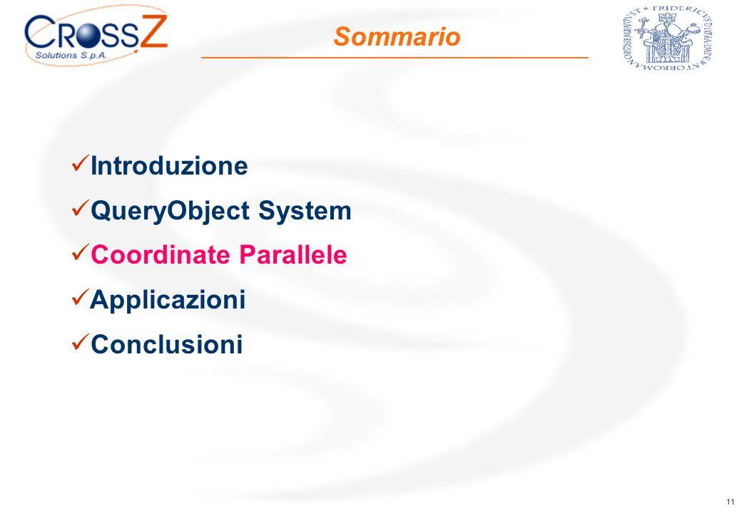 11 Sommario Introduzione QueryObject System Coordinate Parallele Applicazioni Conclusioni