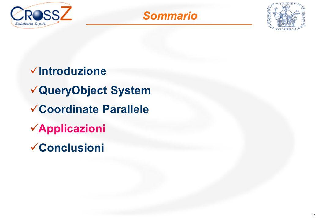 17 Sommario Introduzione QueryObject System Coordinate Parallele Applicazioni Conclusioni
