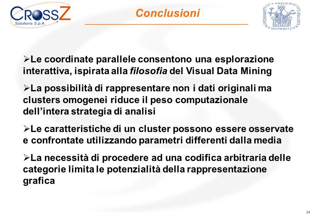 34 Conclusioni  Le coordinate parallele consentono una esplorazione interattiva, ispirata alla filosofia del Visual Data Mining  La possibilità di r