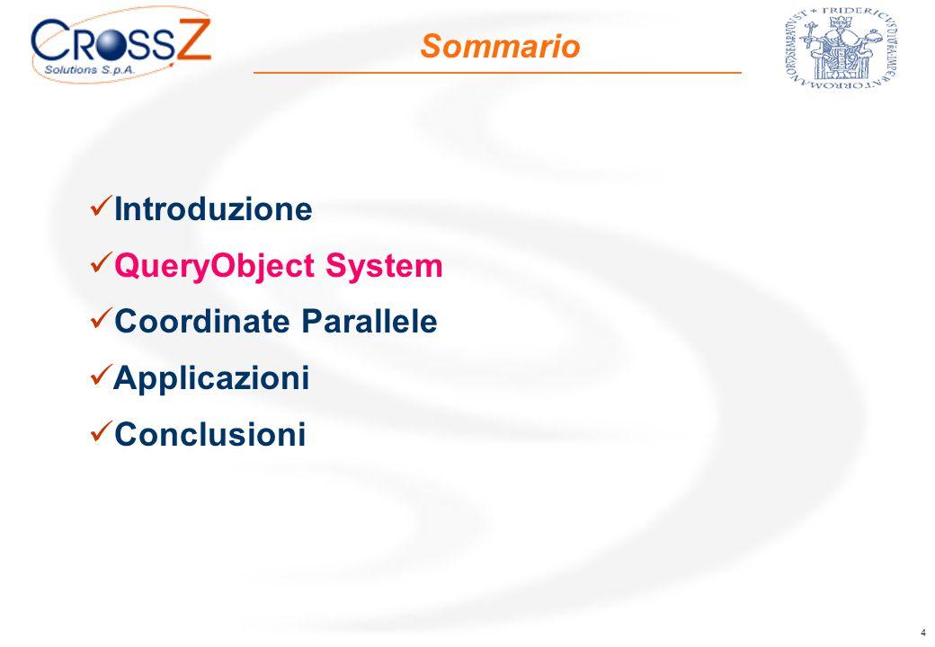 4 Sommario Introduzione QueryObject System Coordinate Parallele Applicazioni Conclusioni