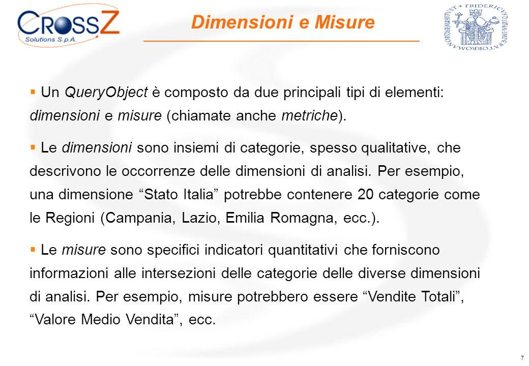 7 Dimensioni e Misure  Un QueryObject è composto da due principali tipi di elementi: dimensioni e misure (chiamate anche metriche).  Le dimensioni s