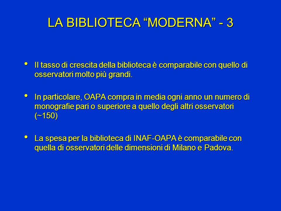 LA BIBLIOTECA MODERNA - 3 Il tasso di crescita della biblioteca è comparabile con quello di osservatori molto più grandi.