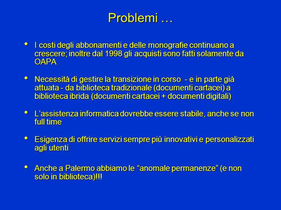 … e (possibili) soluzioni Poiché si tratta di problemi comuni a tutti gli osservatori, comuni dovranno essere anche le soluzioniPoiché si tratta di problemi comuni a tutti gli osservatori, comuni dovranno essere anche le soluzioni Aumento della cooperazione, non più spontanea, ma organizzataAumento della cooperazione, non più spontanea, ma organizzata Razionalizzazione dell'esistente:Razionalizzazione dell'esistente: –Uguale quantità di beni e/o servizi con costi minori degli attuali –Più beni e/o servizi con costi uguali agli attuali In questa direzione è orientato anche il lavoro del Gruppo Istruttorio per il Servizio Bibliotecario dell'INAFIn questa direzione è orientato anche il lavoro del Gruppo Istruttorio per il Servizio Bibliotecario dell'INAF