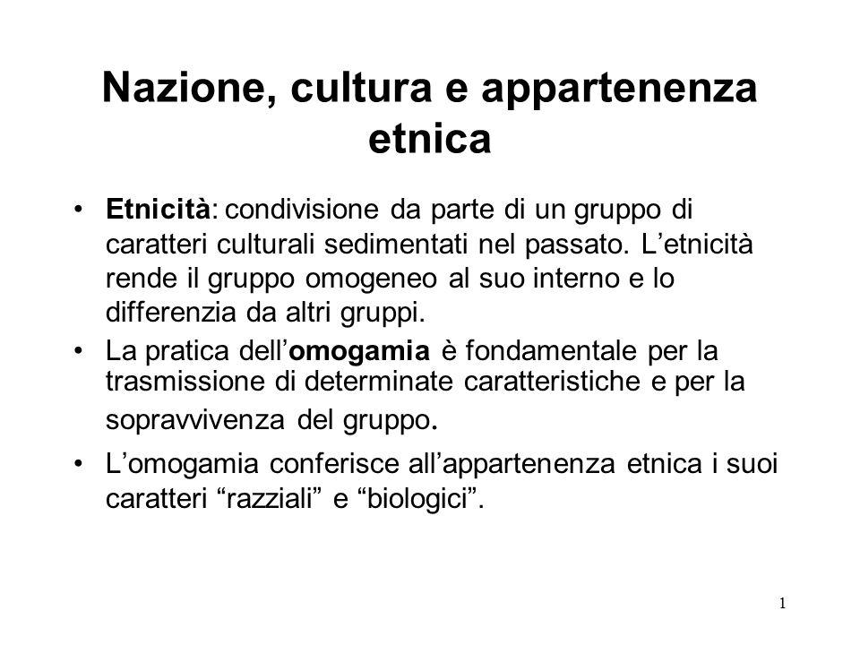 1 Nazione, cultura e appartenenza etnica Etnicità: condivisione da parte di un gruppo di caratteri culturali sedimentati nel passato.