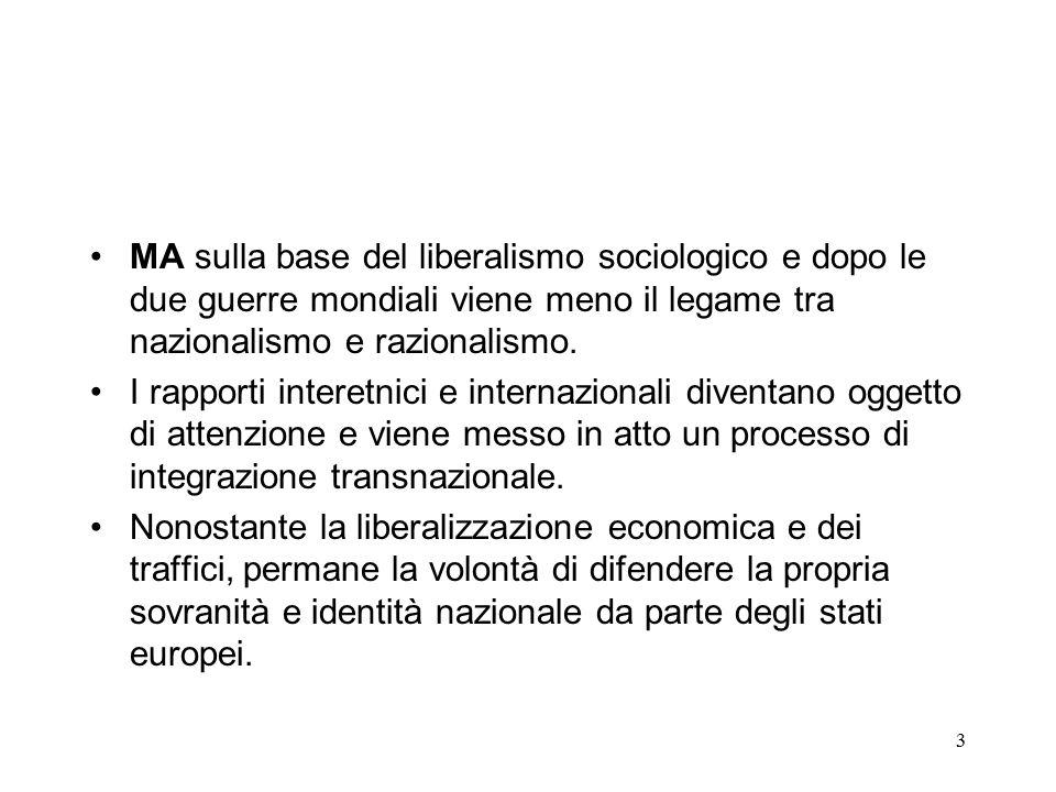 3 MA sulla base del liberalismo sociologico e dopo le due guerre mondiali viene meno il legame tra nazionalismo e razionalismo.