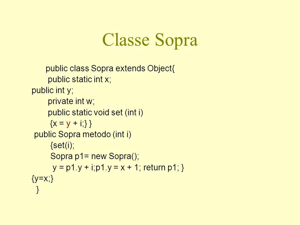 Classe Sotto public class Sotto extends Sopra { public int z; public Sopra metodo (int i) {set (i); Sopra p1 = new Sotto(); z = p1.y-i; p1.z = x + w; return p1;} {z = 5;} }