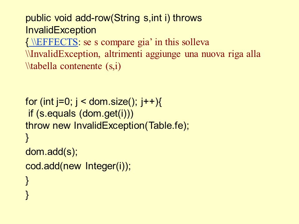 public void add-row(String s,int i) throws InvalidException { \\EFFECTS: se s compare gia' in this solleva \\InvalidException, altrimenti aggiunge una nuova riga alla \\tabella contenente (s,i) \\EFFECTS for (int j=0; j < dom.size(); j++){ if (s.equals (dom.get(i))) throw new InvalidException(Table.fe); } dom.add(s); cod.add(new Integer(i)); }