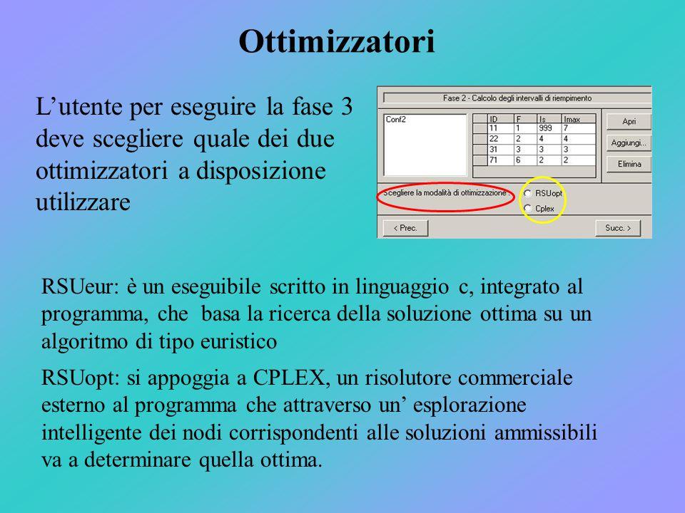 Ottimizzatori L'utente per eseguire la fase 3 deve scegliere quale dei due ottimizzatori a disposizione utilizzare RSUeur: è un eseguibile scritto in