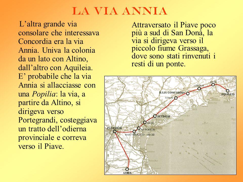 LA VIA ANNIA L 'altra grande via consolare che interessava Concordia era la via Annia. Univa la colonia da un lato con Altino, dall'altro con Aquileia