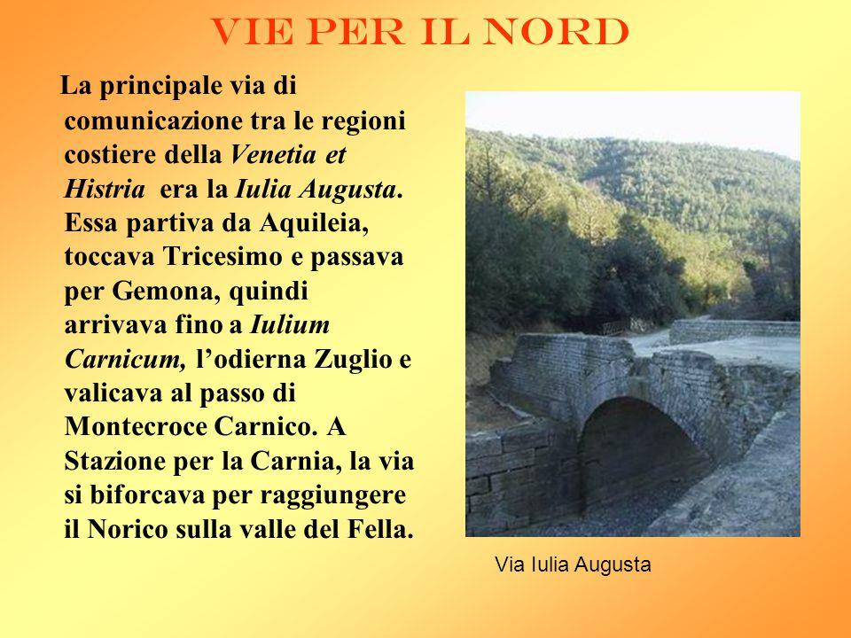 VIE PER IL NORD La principale via di comunicazione tra le regioni costiere della Venetia et Histria era la Iulia Augusta. Essa partiva da Aquileia, to