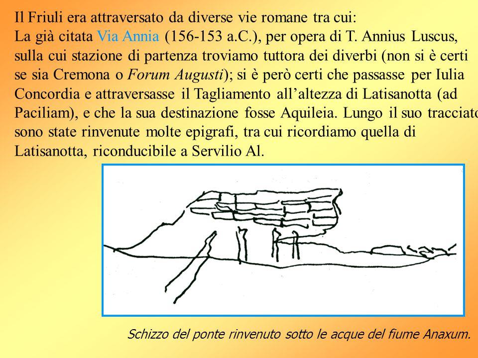 Il Friuli era attraversato da diverse vie romane tra cui: La già citata Via Annia (156-153 a.C.), per opera di T. Annius Luscus, sulla cui stazione di